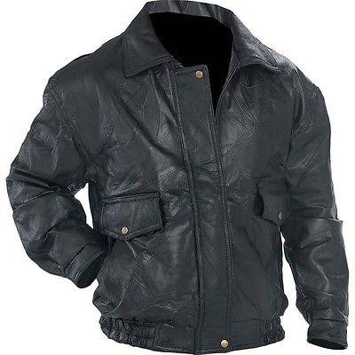BOMBER JACKET Mens Black Genuine Leather Flight Coat Motorcy
