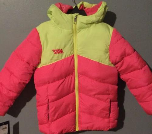 Nike Girls Youth Kid Pink Volt Coat Puffer Bomber Size 5 6 T