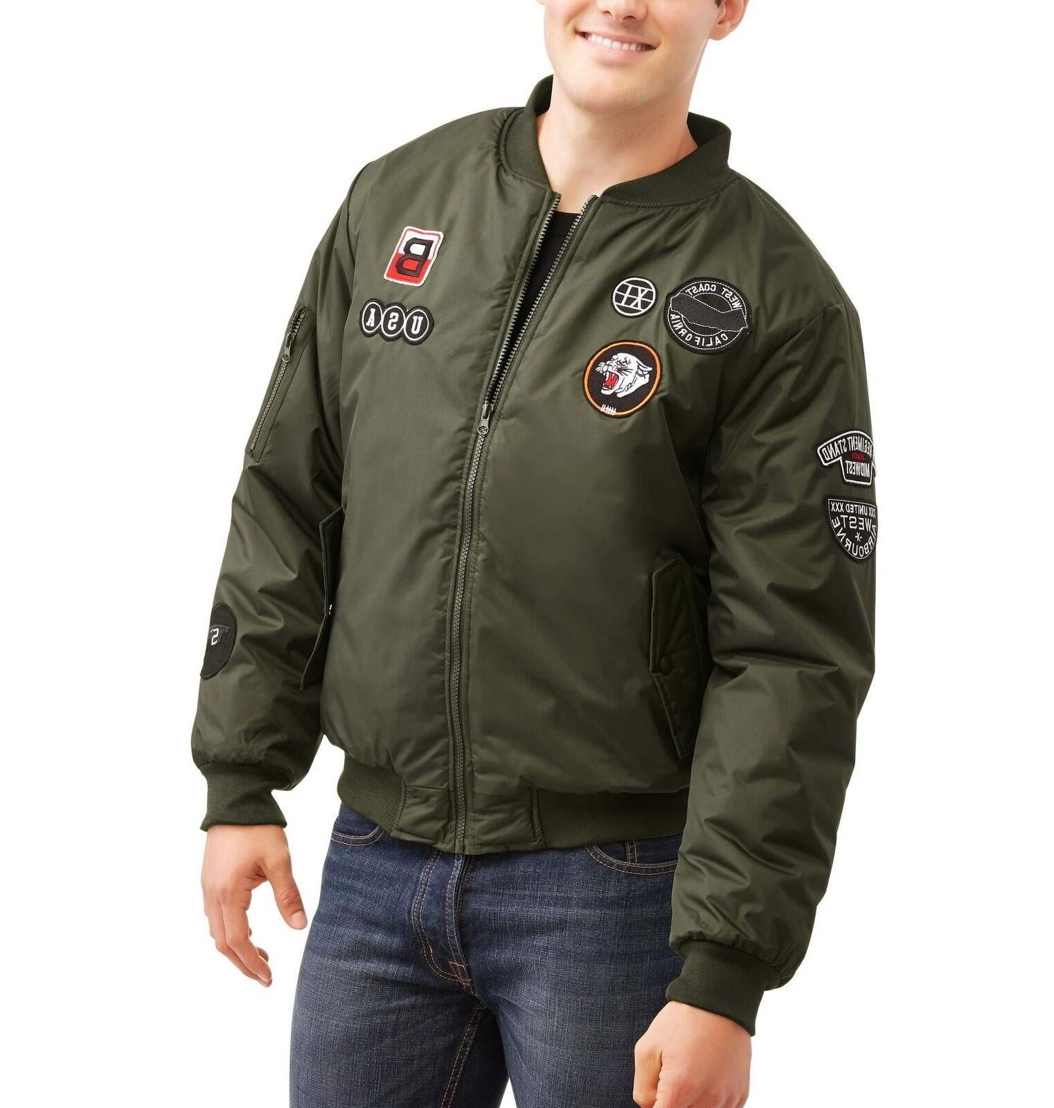 Original Deluxe Men's Bomber Jacket with Patches - MILITARY
