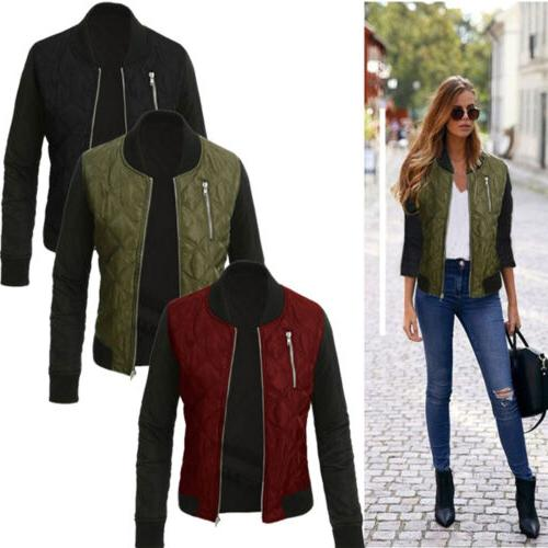 Women Ladies Winter Quilted Padded Bomber Jacket Check Zippe