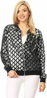 Anna-Kaci Womens Long Sleeve Front Zip Track Stripe Sequin B