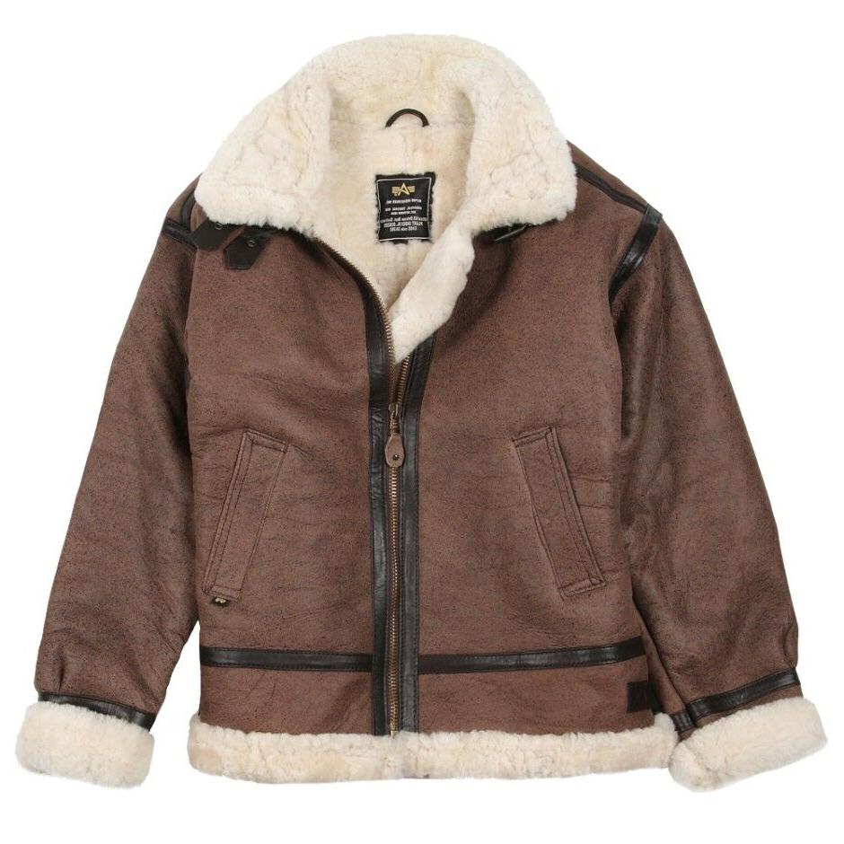 ALPHA INDUSTRIES B-3 SHERPA LEATHER JACKET BROWN MLB21012K1