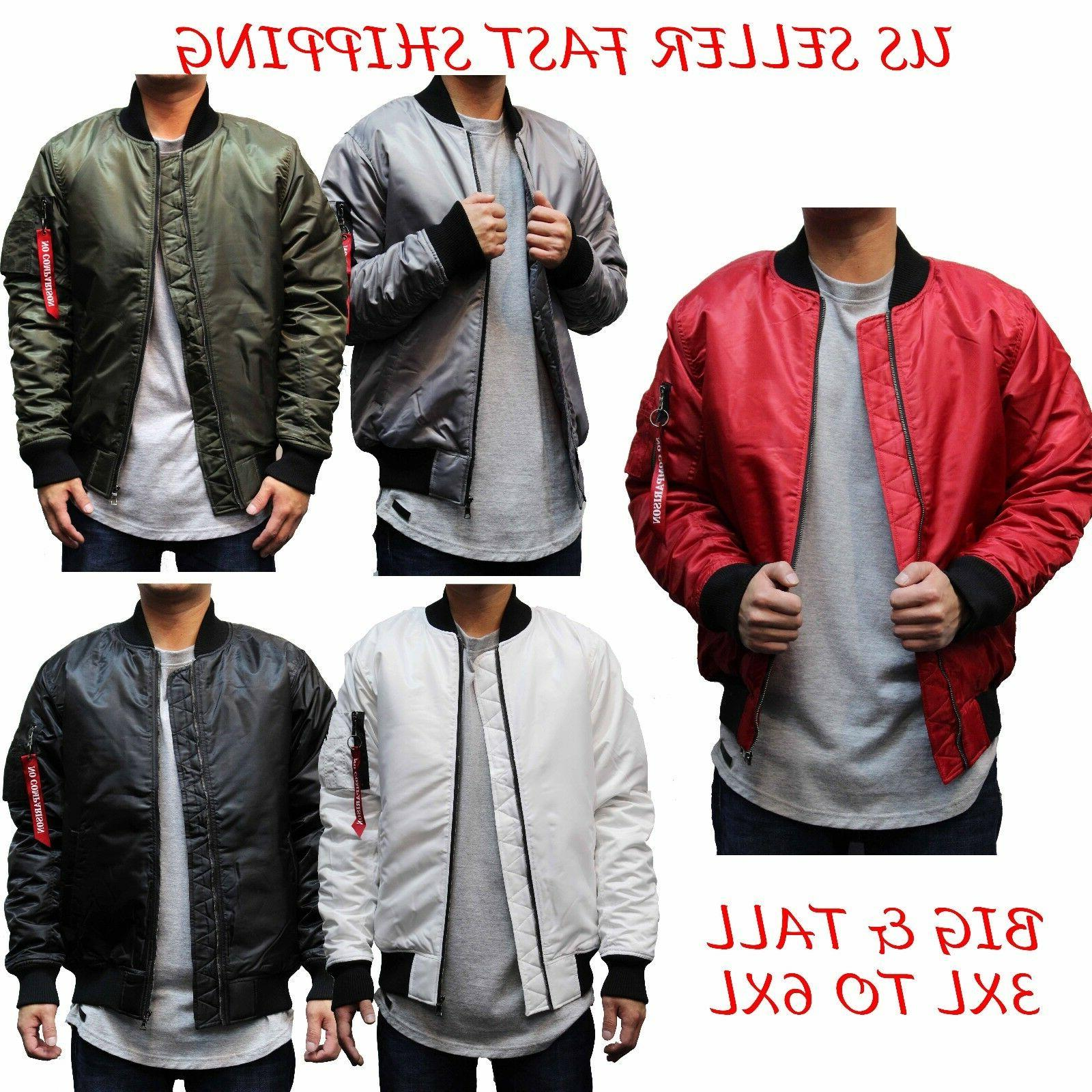 979dc4492a5 BIG AND TALL Men s Hip Hop MA-1 Flight Military Bomber Jacke