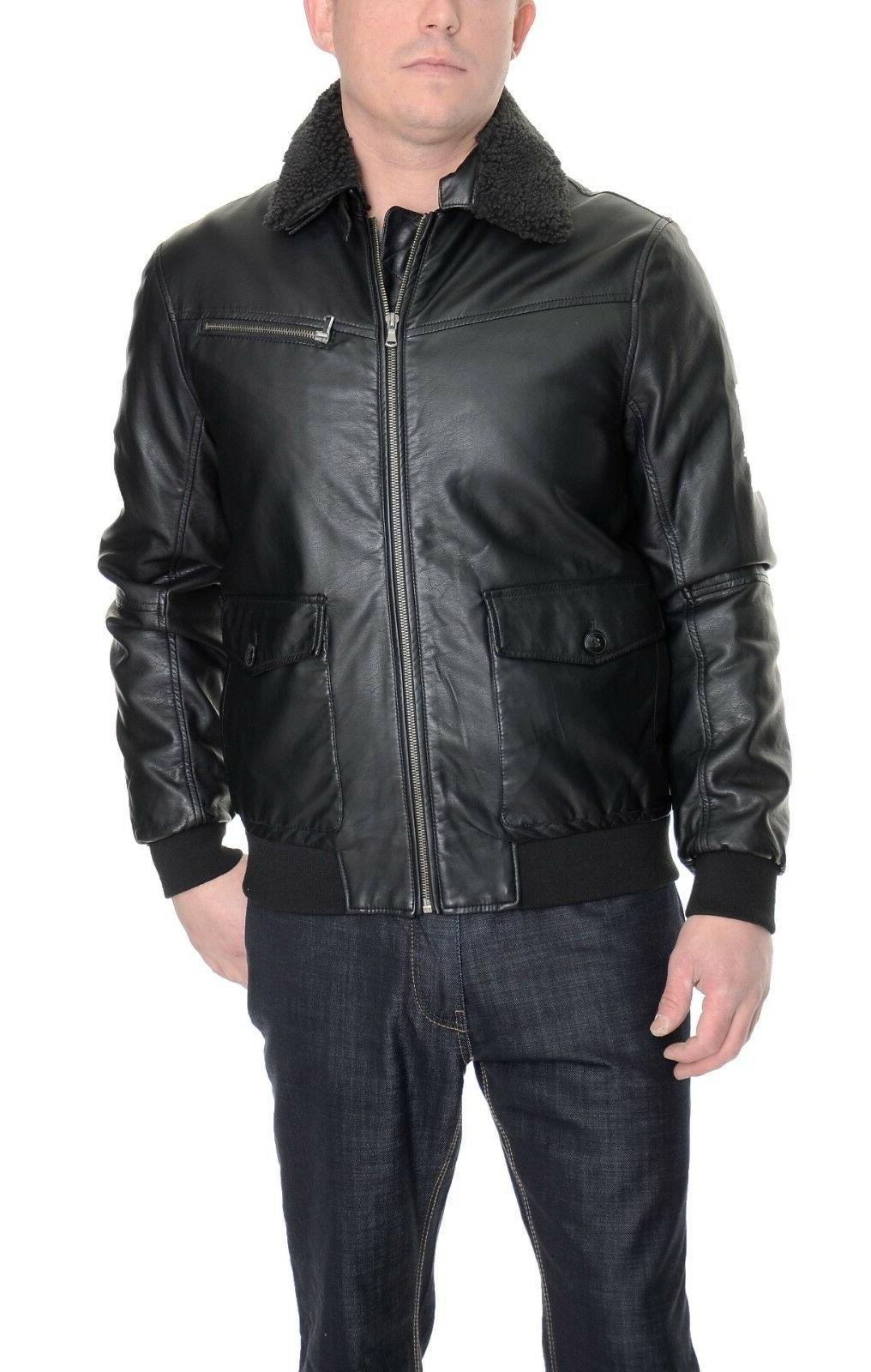 black faux leather bomber jacket removable collar