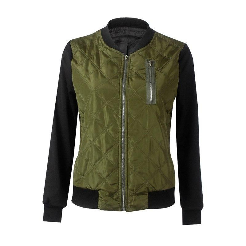 Brand New Female Autumn Down <font><b>Jacket</b></font> Cool Grid Long <font><b>Bomber</b></font> 3