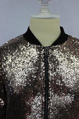 The Edit Seventeen Juniors Sequined Bomber Gold XS