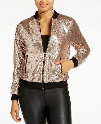 by seventeen juniors sequined bomber jacket gold