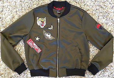 Hot Kiss Girls Green Bomber Jacket Coat Military Lion Decal