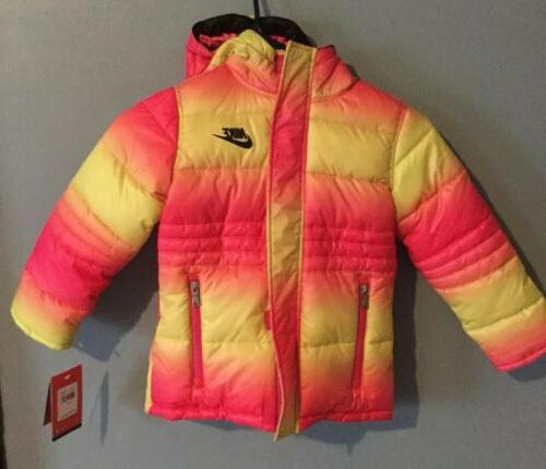 girls youth pink puffer coat bomber yellow
