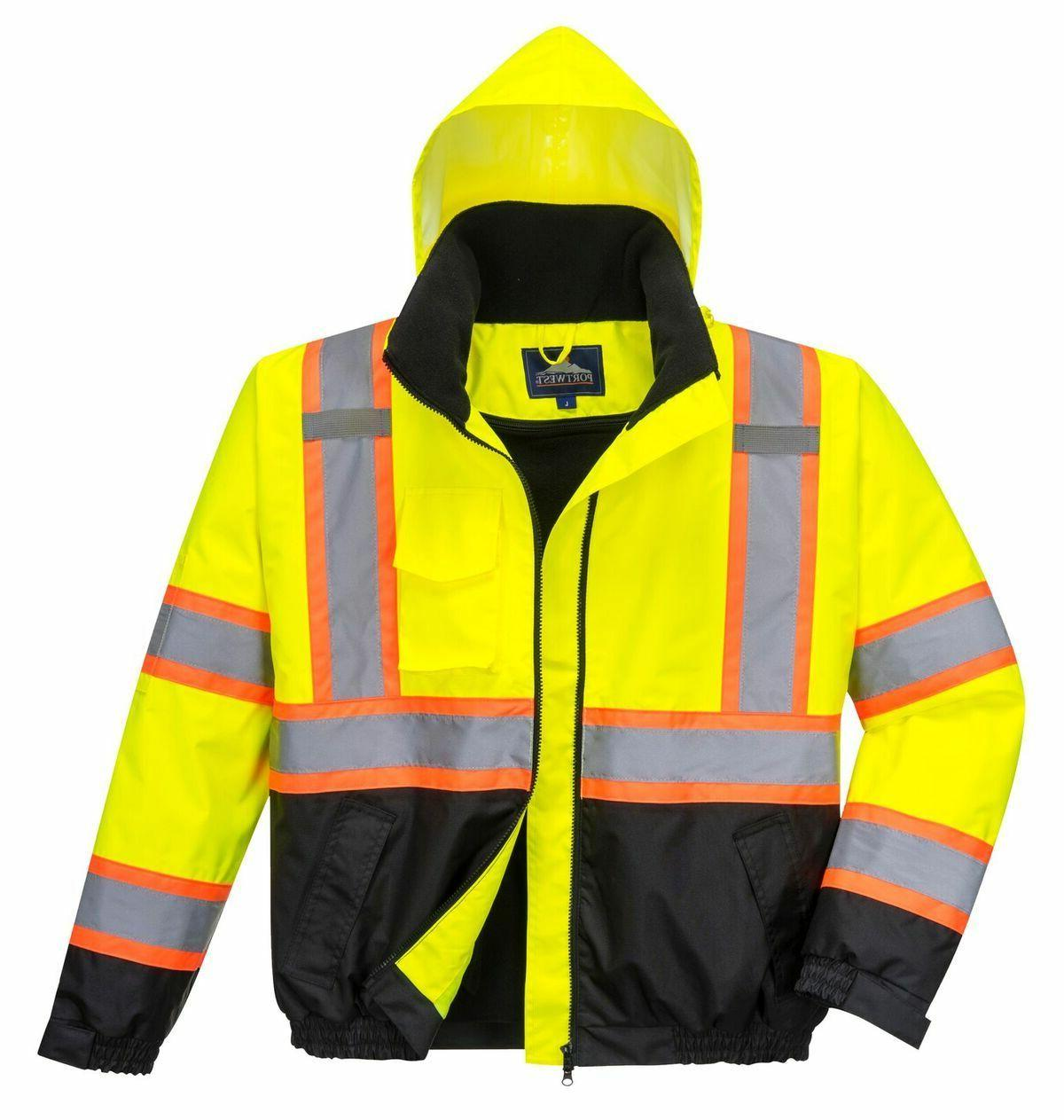 HI-VIS 2-IN-1 CONTRAST TAPE BOMBER JACKET CLASS 3 WATERPROOF