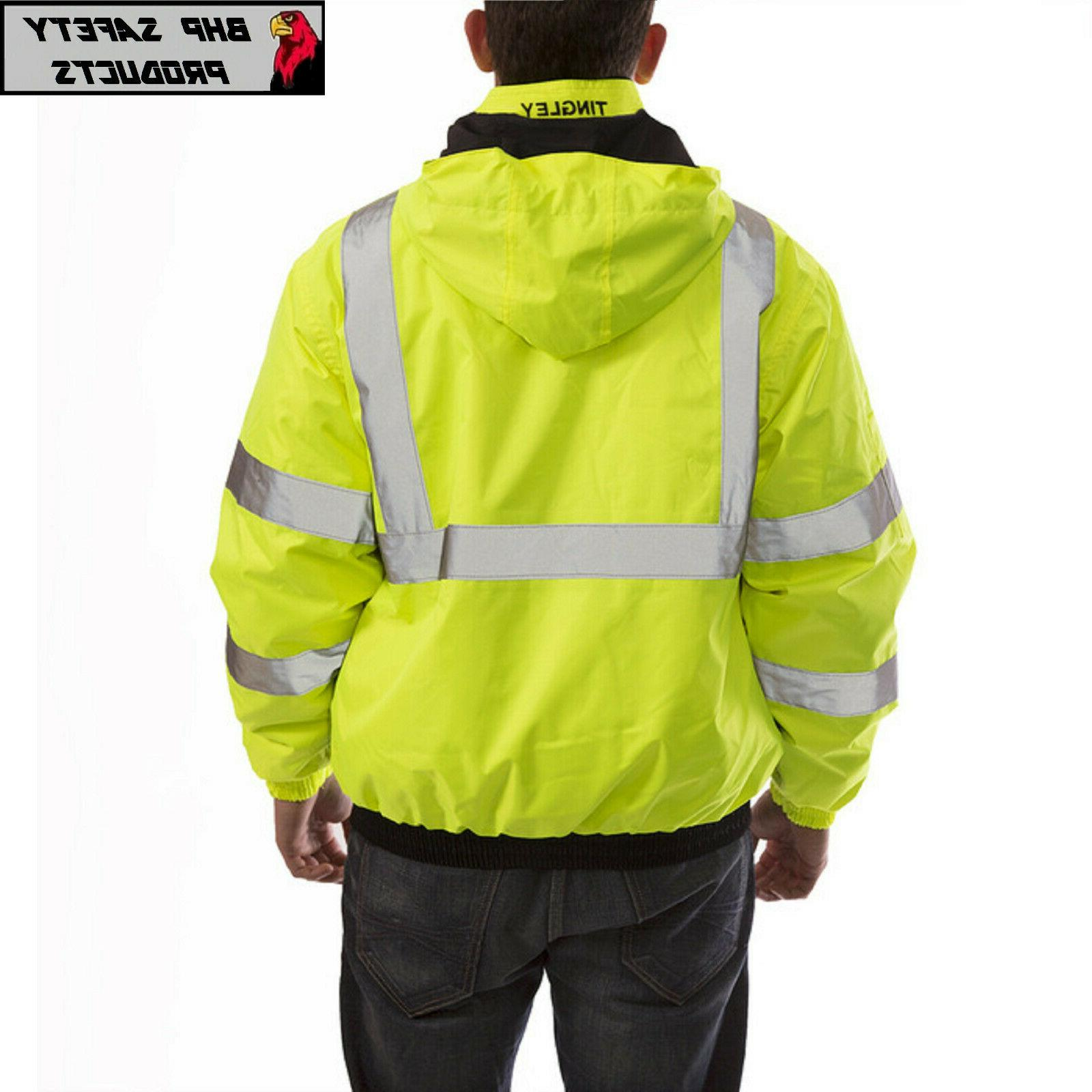 Hi-Vis Insulated Safety Jacket and ROAD WORK HIGH