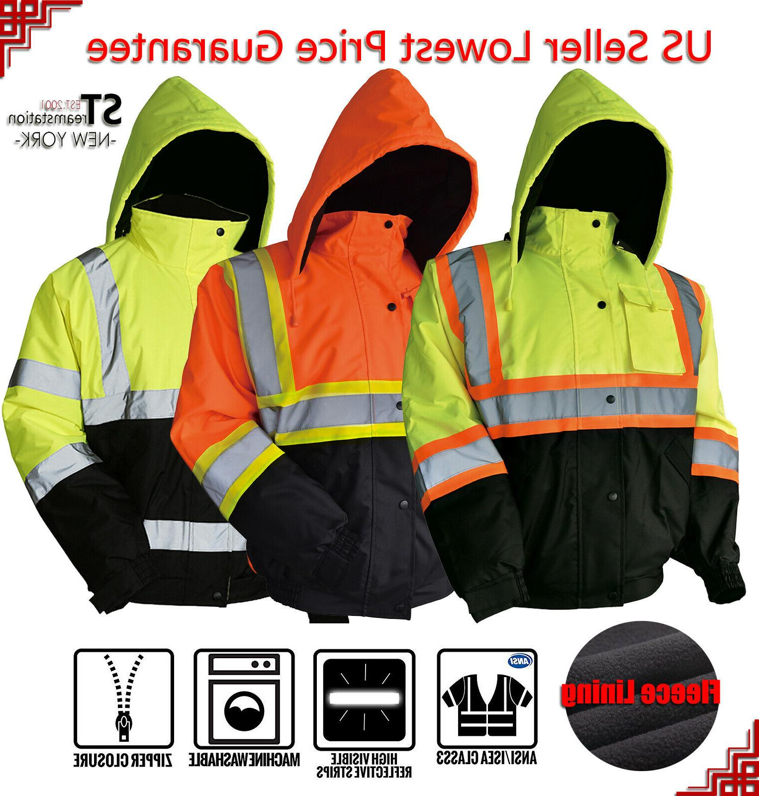 Hi-Vis Insulated Safety Bomber Reflective Jacket Road Work H