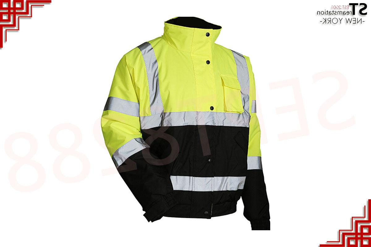 Hi Vis Bomber Reflective Winter Warm Lined JO