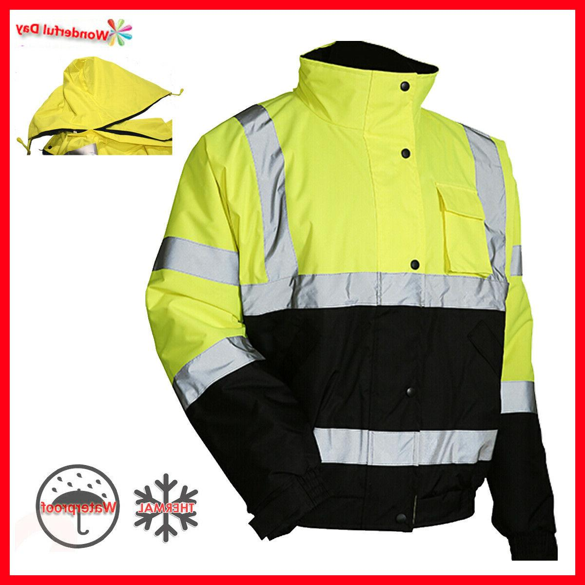 hi vis insulated safety bomber reflective winter