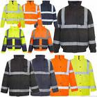 Hi Viz Vis Security Work Contractors Jacket Waterproof Padde