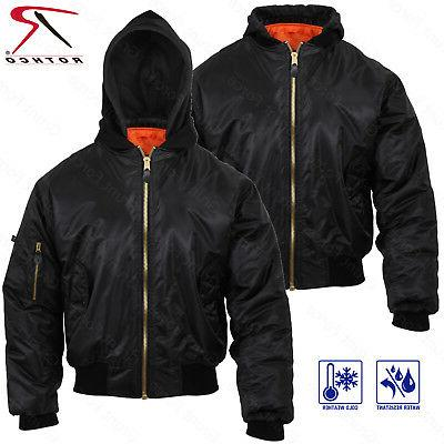 Rothco Hooded Black MA-1 Flight Jacket - Adult Reversible Bo