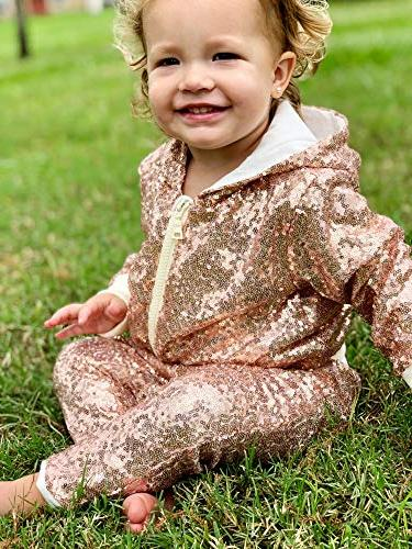 Cilucu Boys Sequin Zipper Coat Jacket for Christmas Clothes Bomber Gold 5-6years