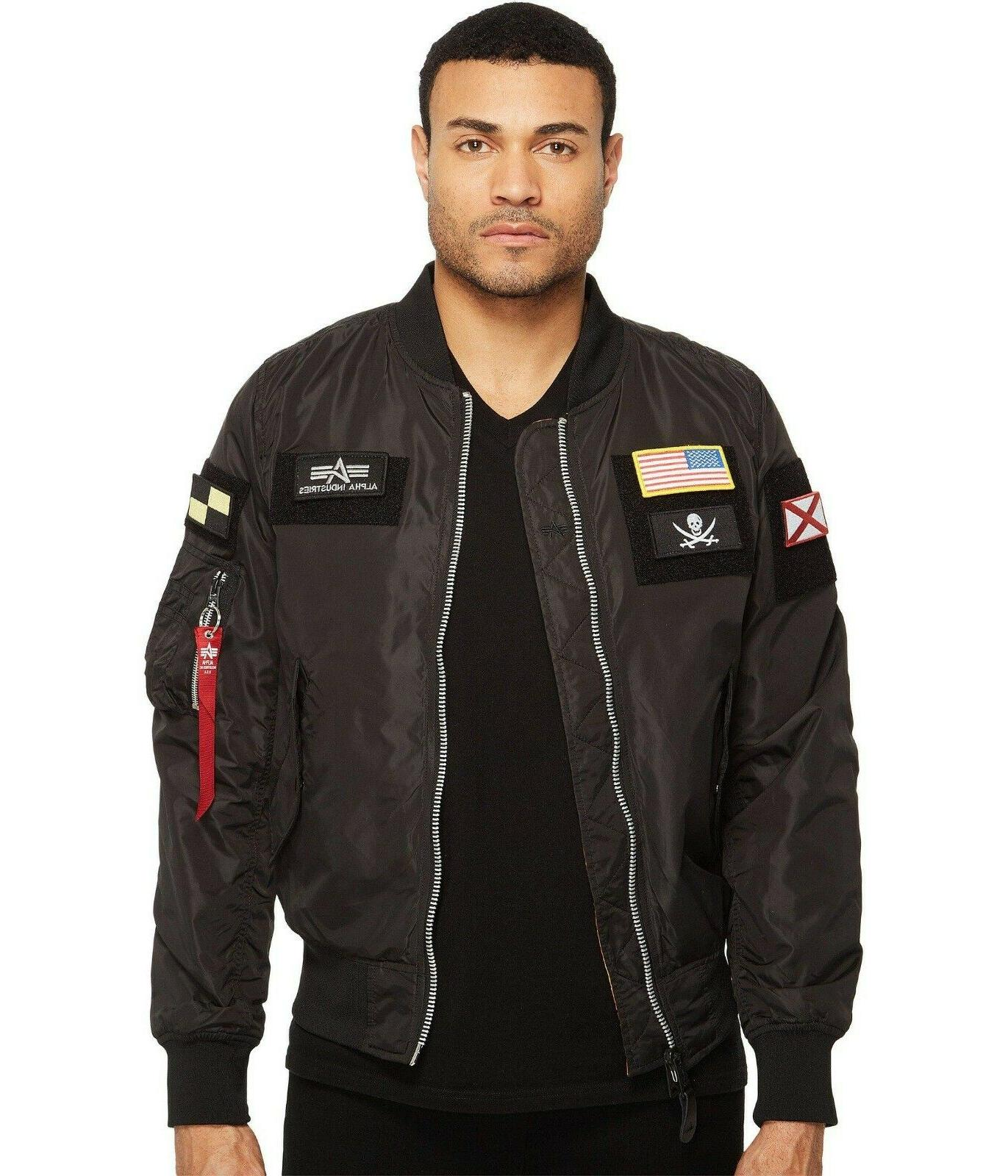 Alpha L-2B Flex Black Jacket with Patches Small