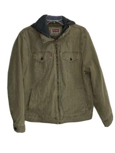 levis mens quilted insulated khaki denim jacket