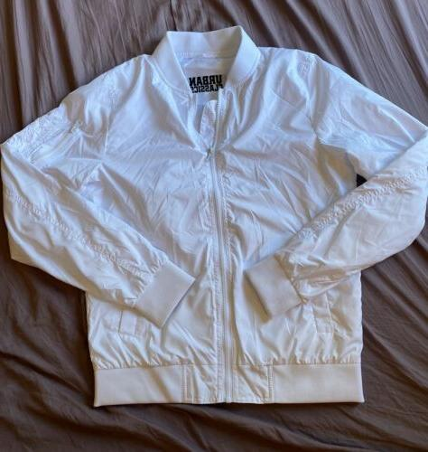 light bomber jacket small white