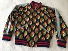 Gucci Logo Print Satin Bomber Jacket Blue Red $4,500 Retail