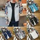 Men Hooded Fit Floral Bomber Jacket Wind Breaker Thin Tops Z