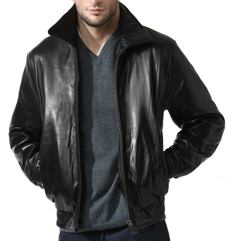 Men's Black Lambskin Leather Bomber Jacket Zip out Liner XL,