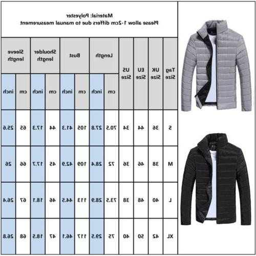 Mens Puffer Coat Jacket Winter Quilted