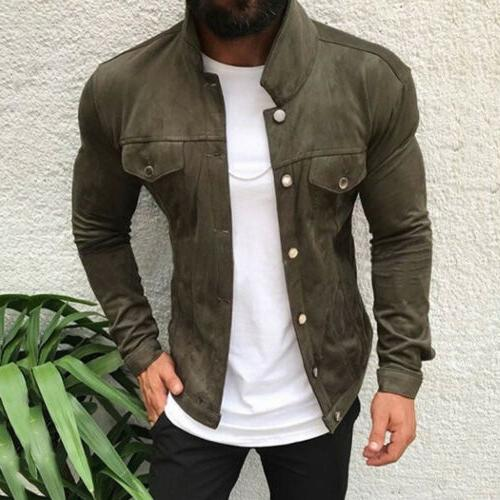 Men's Button Casual Solid Long Sleeve Outwear