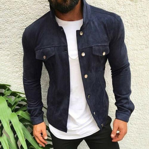 Men's Bomber Jacket Casual Pocket Coat Long Slim Outwear