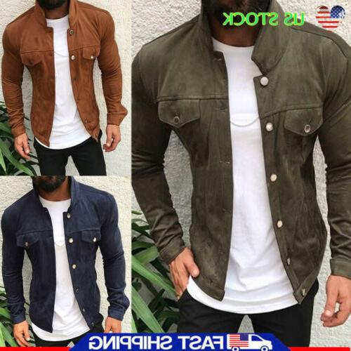 men s button bomber jacket casual solid