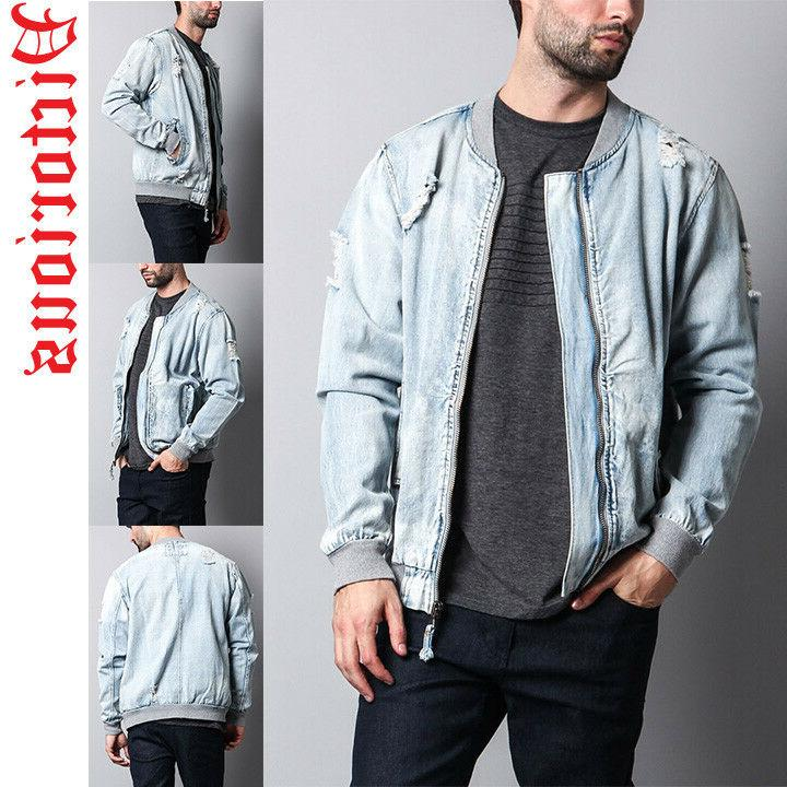 Victorious Men's Distressed Denim Bomber Jacket DK111-T5G