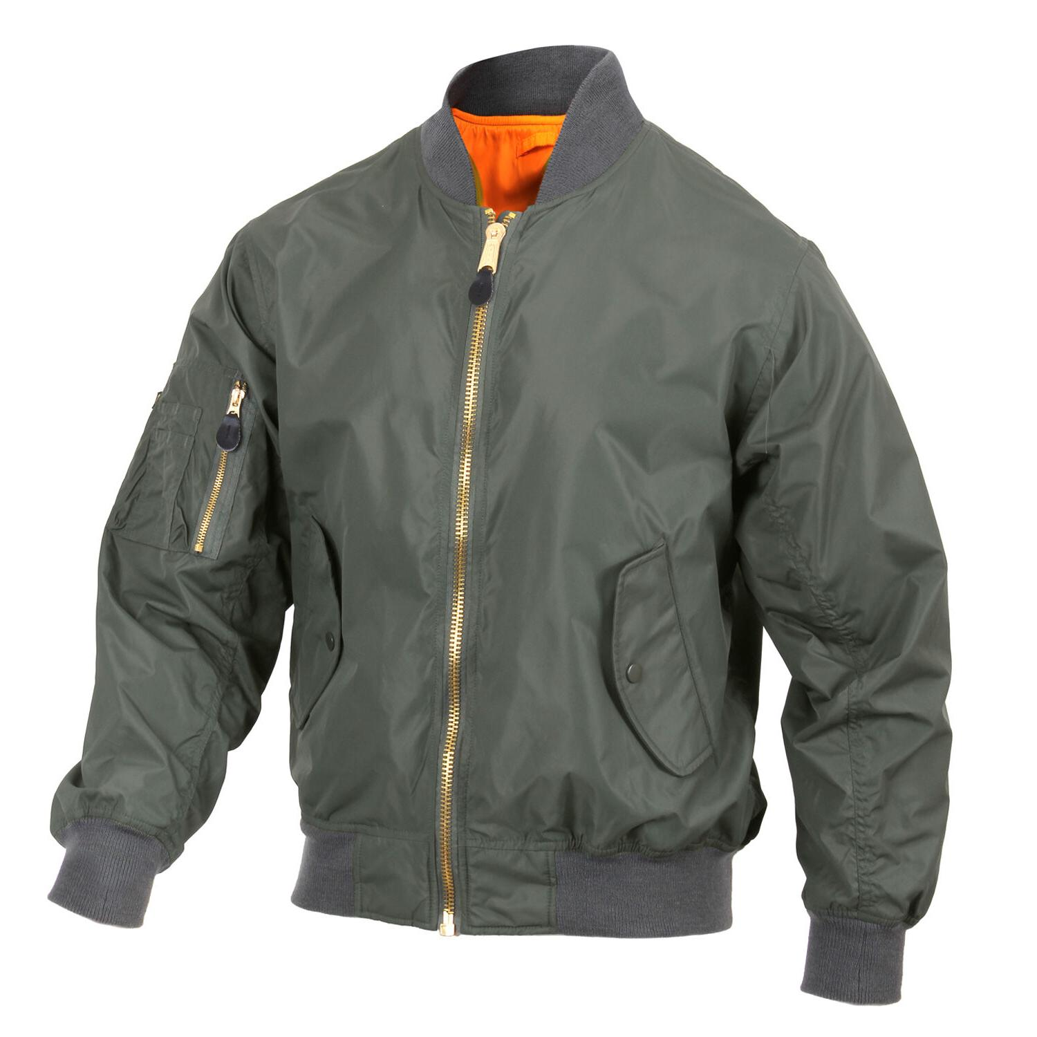 Mens Green Jacket Lightweight MA-1 Flight Military Bomber St