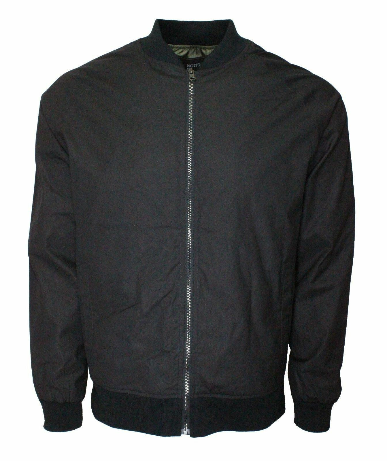 Men's lightweight Bomber Harrington Jacket slim fit Black.