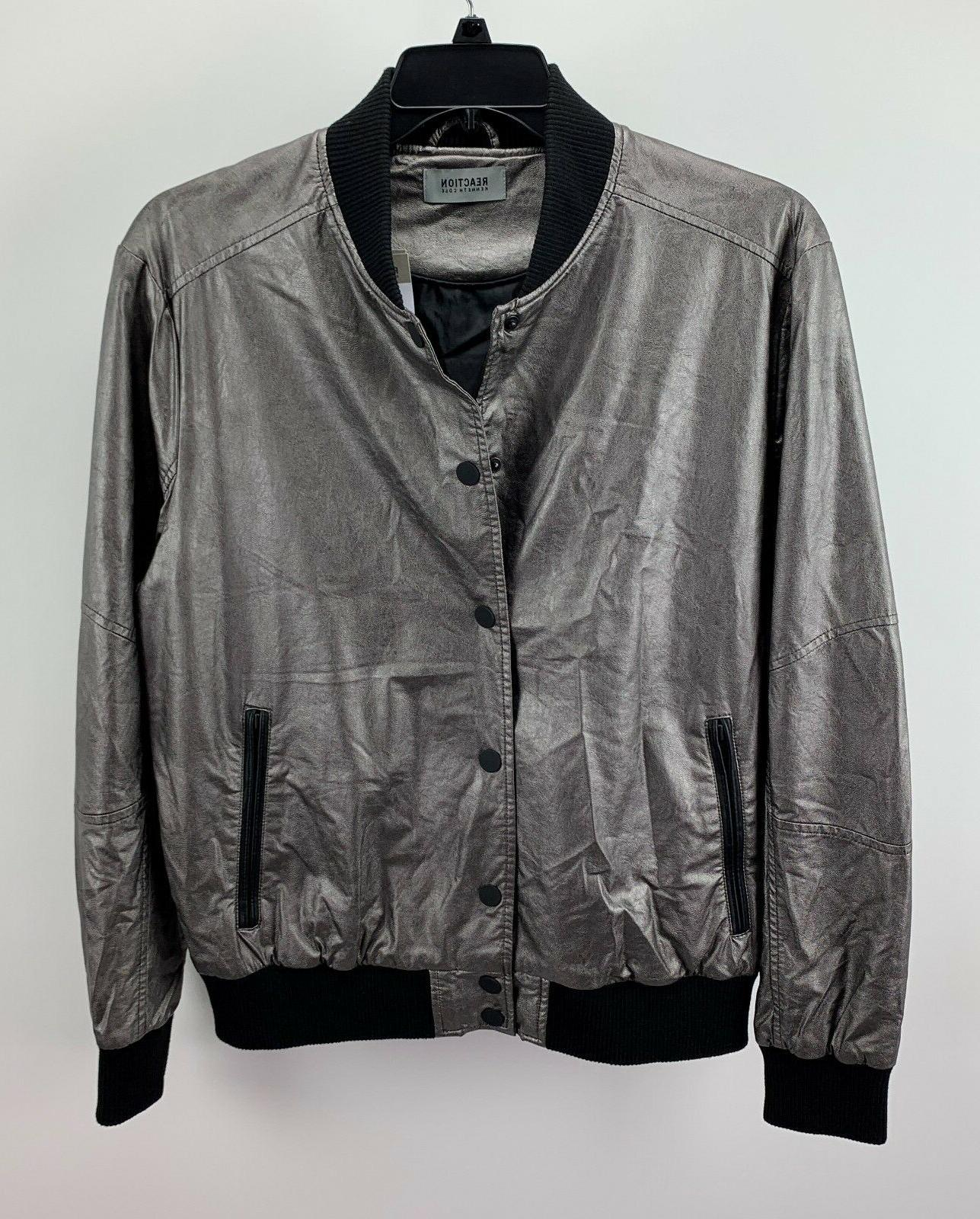 men s metallic bomber jacket gunmetal m
