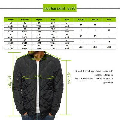 S-2XL Winter Bubble Down Jacket Coat Bomber Quilted Padded