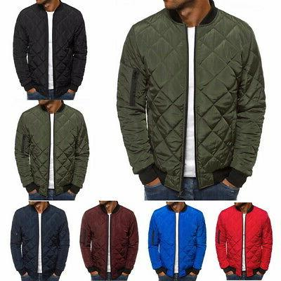 Men Quilted Padded Jacket Puffer Bubble Down Coat Bomber