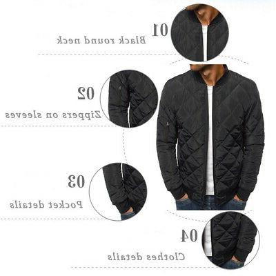 S-2XL Bubble Down Jacket Bomber Quilted Padded Outwear