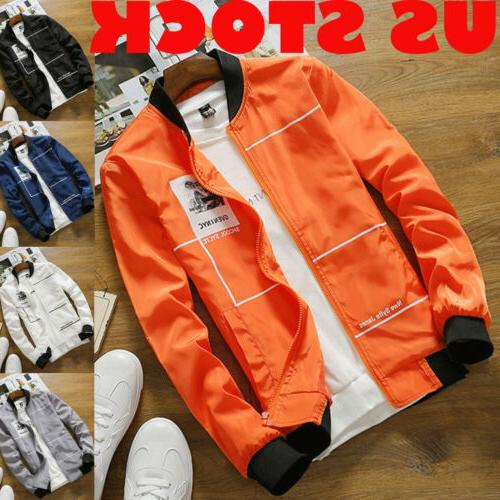 Men Zipper Casual Business Jacket Fight Bomber Coat Thin Aut