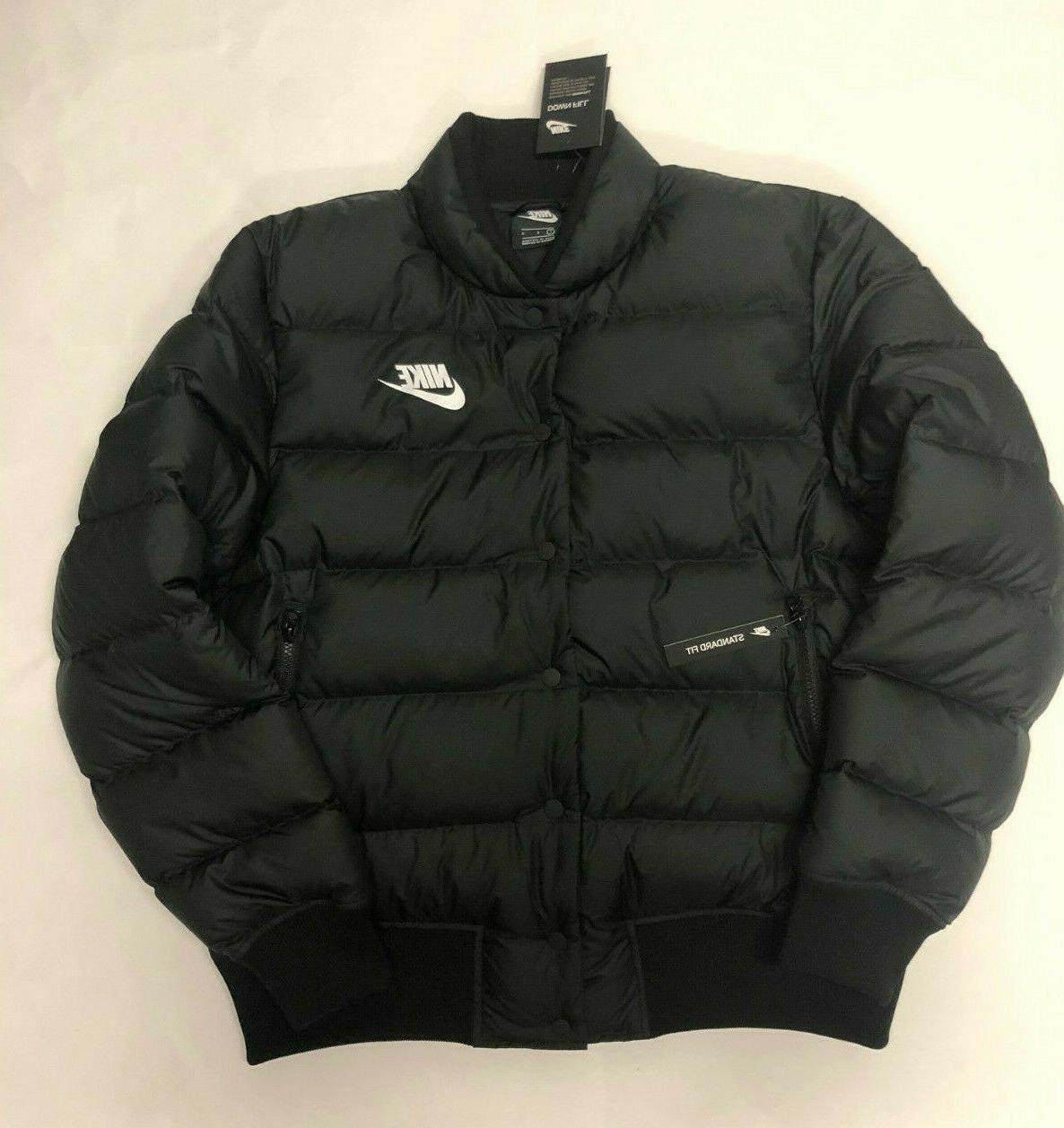mens black down filled snap puffer jacket