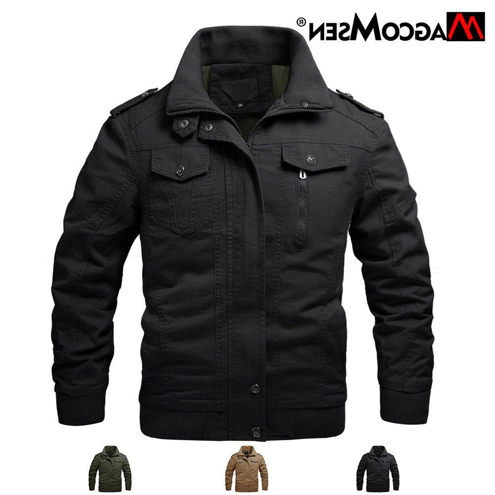 Mens Bomber Cotton Jacket Coats Air Force One Autumn Militar