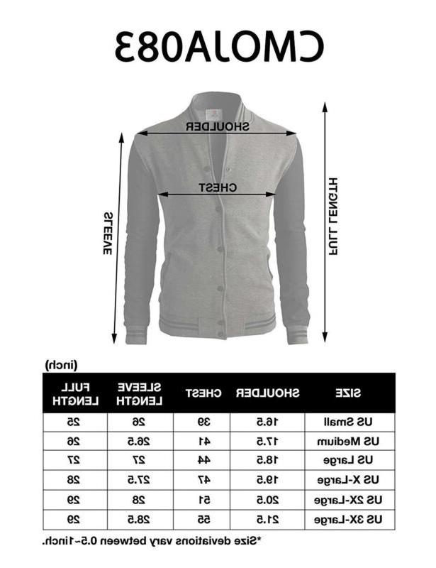H2H Mens Casual Fit Varsity Bomber Cotton Lightweight