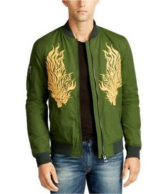 GUESS Mens Embroidered Bomber Jacket blackforest S