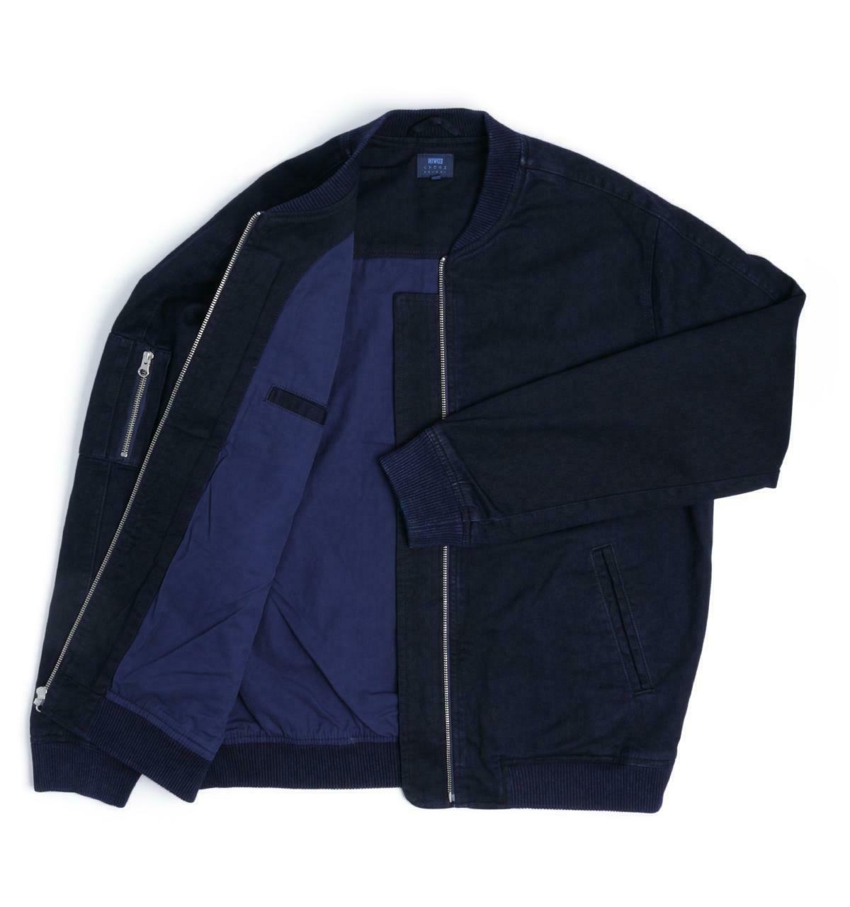 Mens Edwin Blue Bomber Jacket with Zip on Left