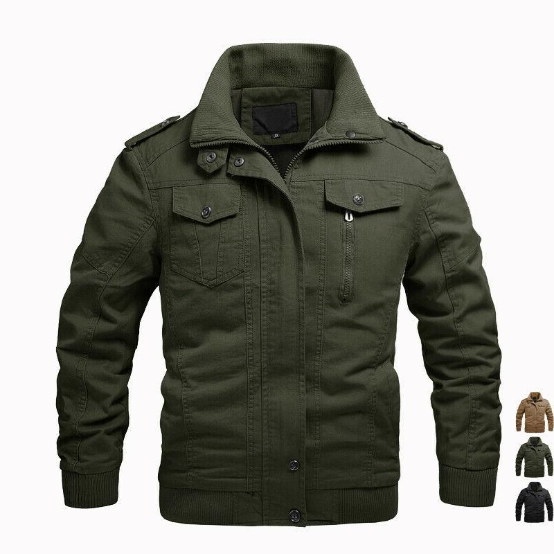 Mens MA-1 Bomber Jackets Cargo Work Jackets Combat Hooded Co