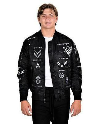 mens ma1 long sleeve nylon bomber jacket