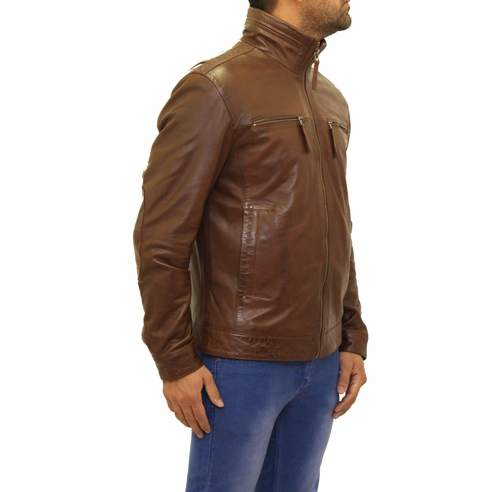 Mens New Chestnut Italian Leather Casual Long