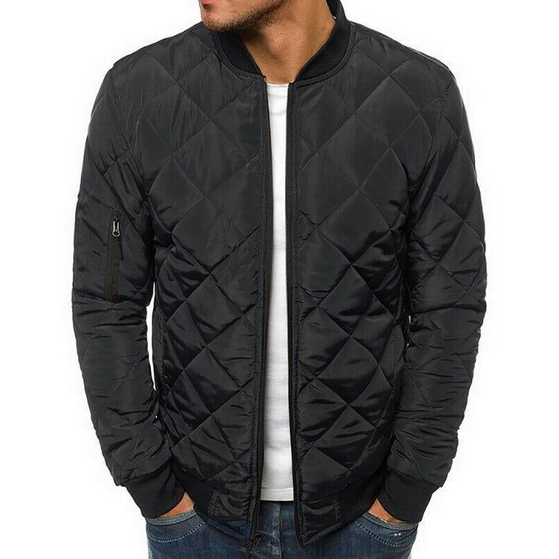 Mens Winter Bomber Baseball Jacket Down Quilted