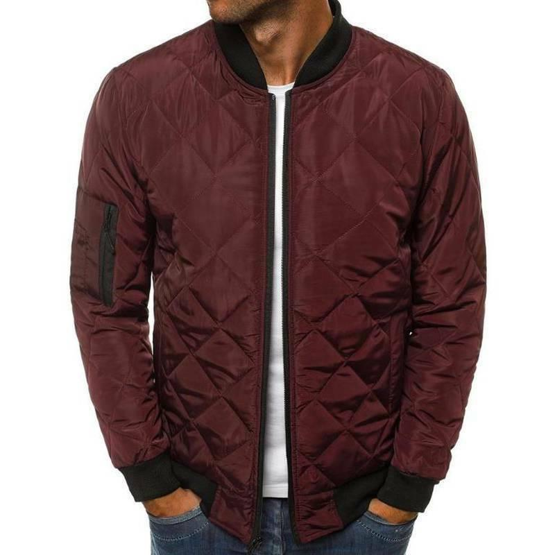 Mens Warm Quilted Jacket Bomber Outwear