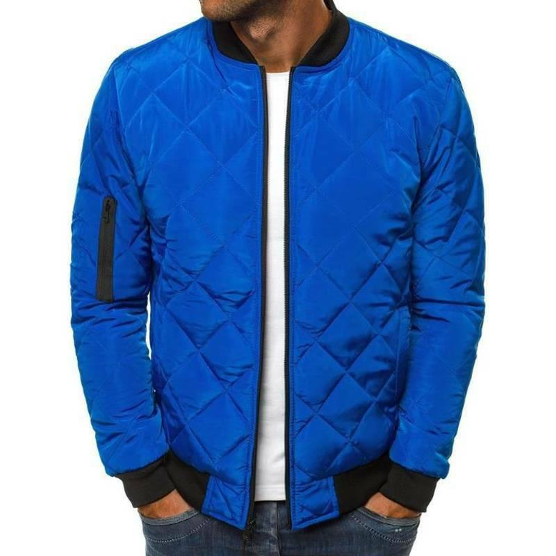 Mens Warm Quilted Bomber Zip Up Outwear